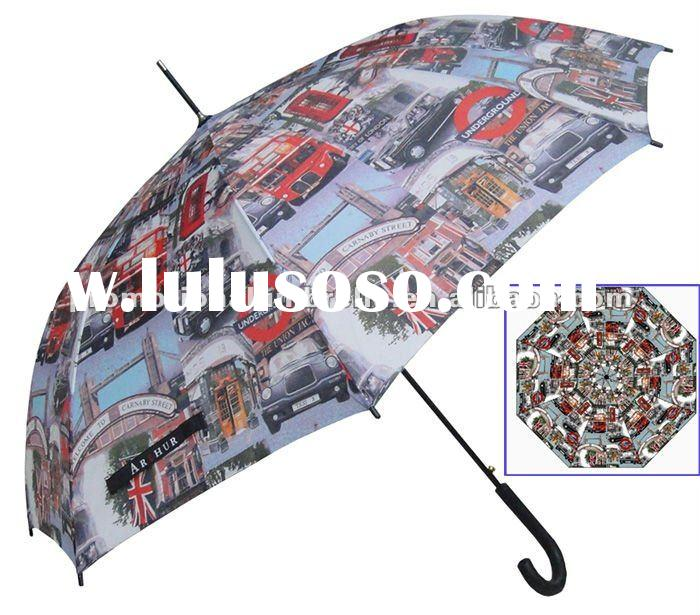 "27"" automatic promotion full color printing wooden handle stick umbrella"