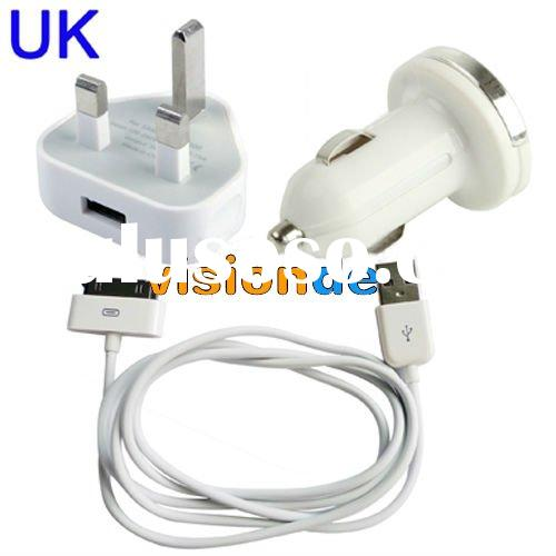 3 in 1 ( UK Plug Home Charger + Car Charger + USB Cable) Travel Kit for Samsung P1000