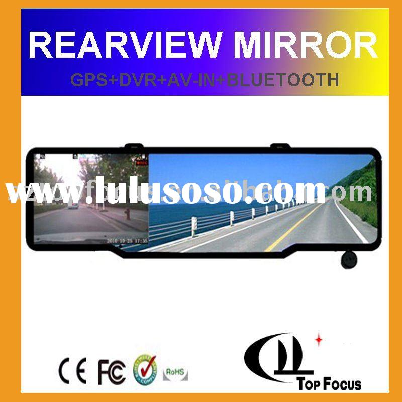 4.3 inch bluetooth rearview wireless reverse camera car mirror gps with dvr RM043A-DVR