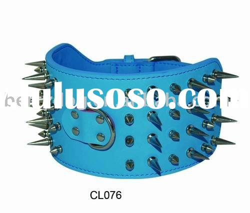 8cm wide real leather spiked dog collars for big dogs