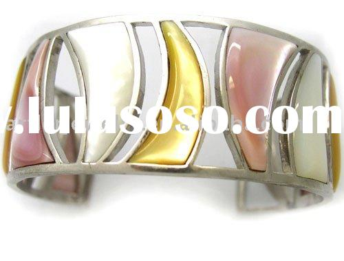 925 Sterling Silver Bracelet/Bangle Inlaid With Shell