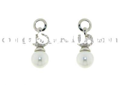 925 Sterling Silver Earrings with CZ & Pearl