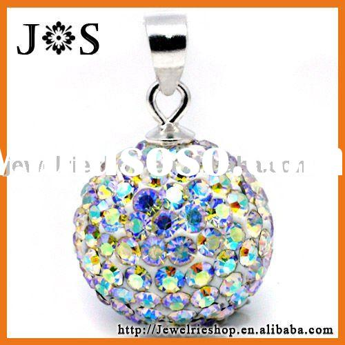 925 Sterling Silver Fashion Crystal Pave Bead Pendant 12mm
