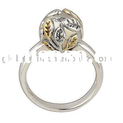 925 Sterling Silver Fashion Jewelry Gold and Silver Ring
