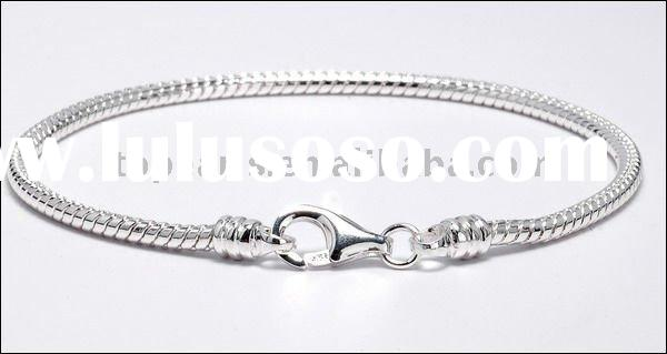 925 sterling silver snake chain bracelet European beads chain PCP16