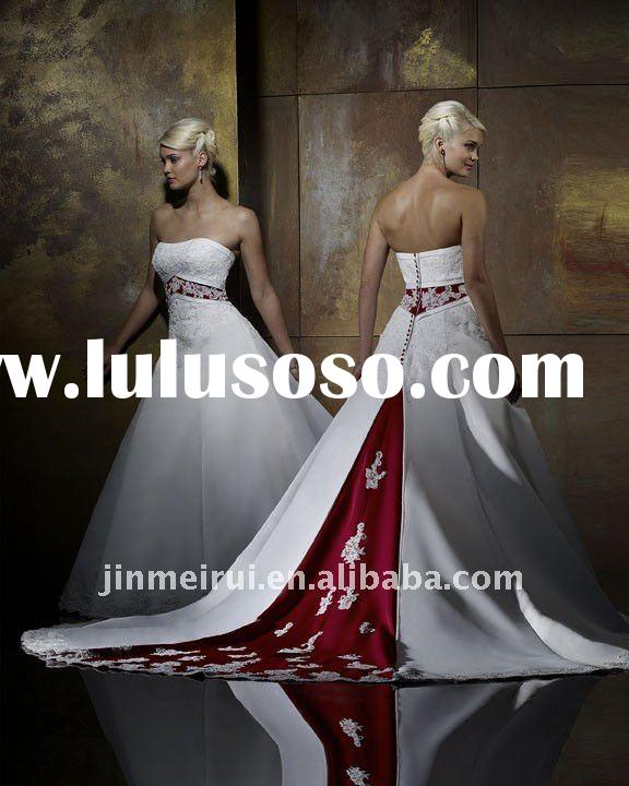 A-701 Satin Strapless A line Skirt with Wine Red Decoration Fashion ELegant Bridal Wedding Dress