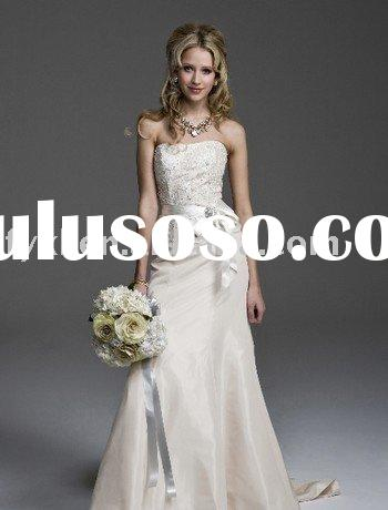 A-line strapless satin wedding dresses ZH0512