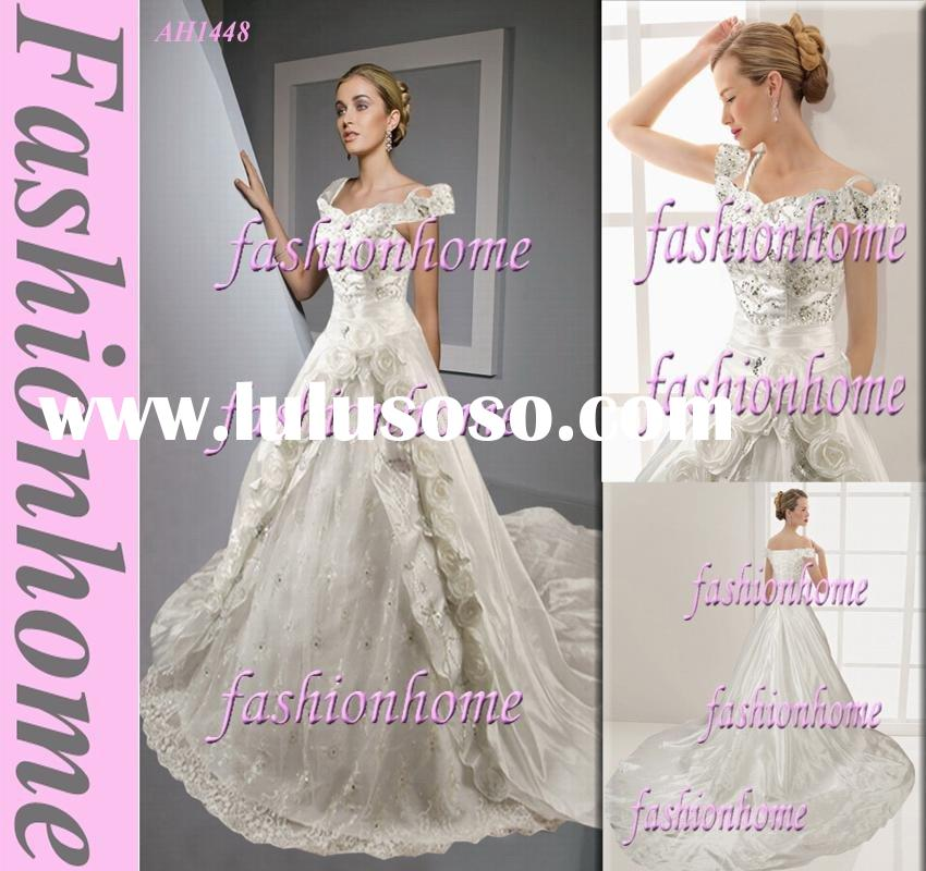 Attractive Leading off shoulder beaded wedding dress sashes,with cathedral AH1448