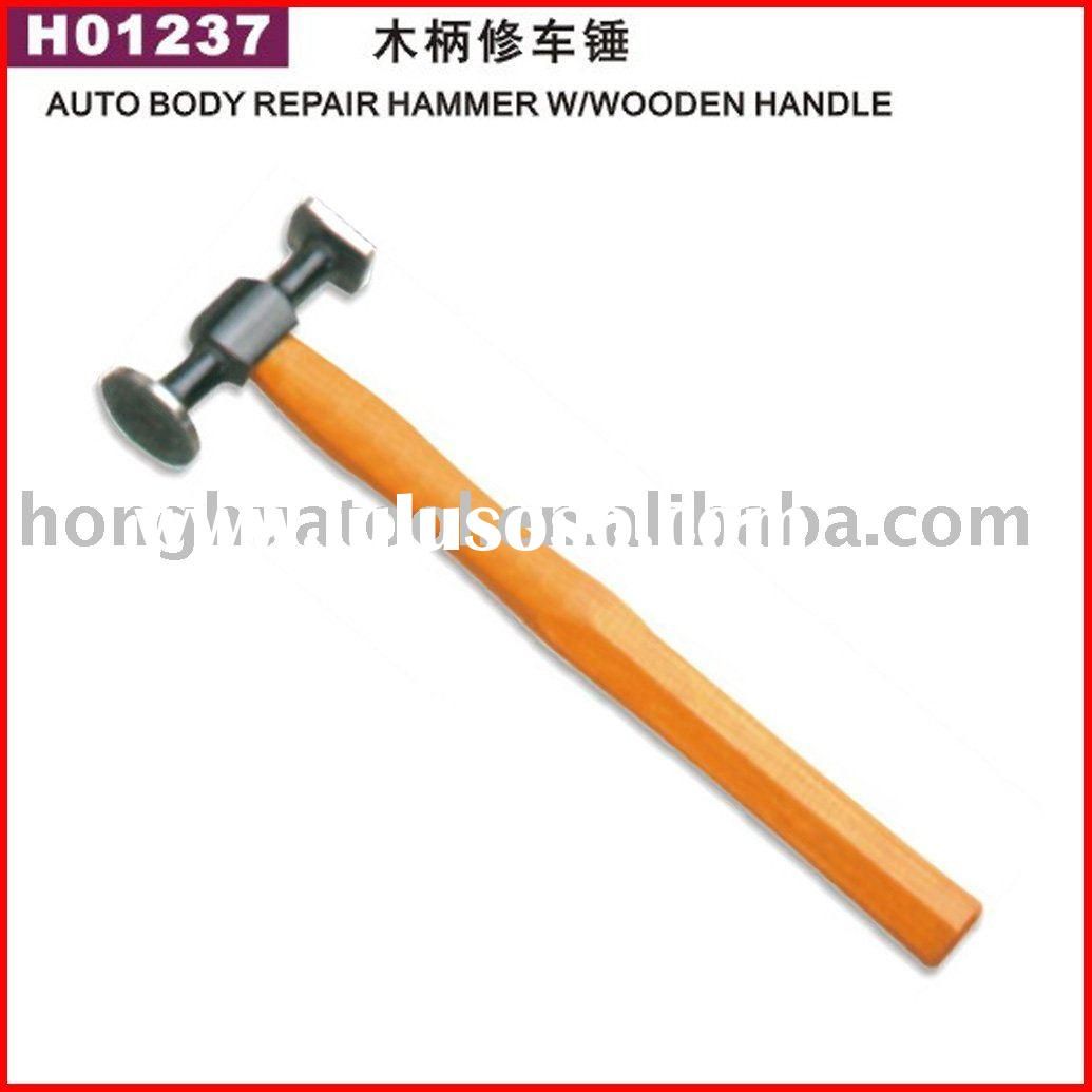 Auto body repair hammer w/wooden handle