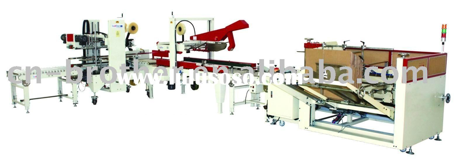 Automatic Carton Sealing Strapping Packing Line