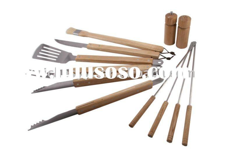 BBQ 11 Pcs Stainless Steel Tool Set With Wooden Handle