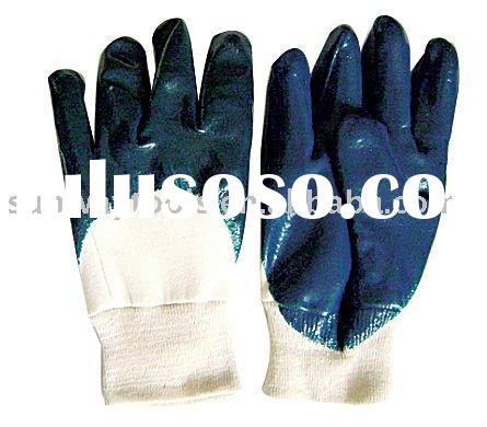 BLUE NITRILE COATED GLOVE, COTTON JERSEY LINED, OPEN BACK, KNIT WRIST