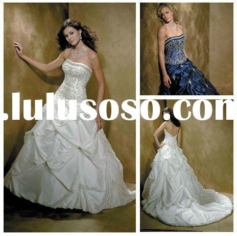 Ball Gown Embroidery Taffeta Royal Blue Wedding Dresses