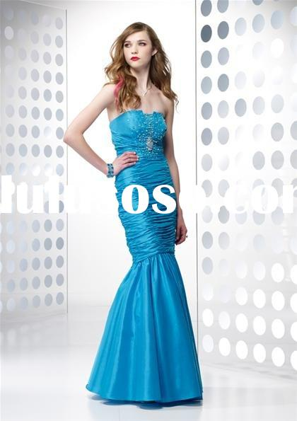 Beautiful blue taffeta mermaid prom dresses B35397