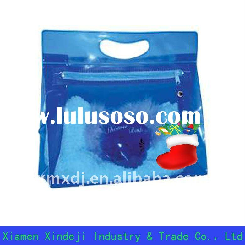 Blue PVC cosmetic packing bag with christmas design XDJ-C-002