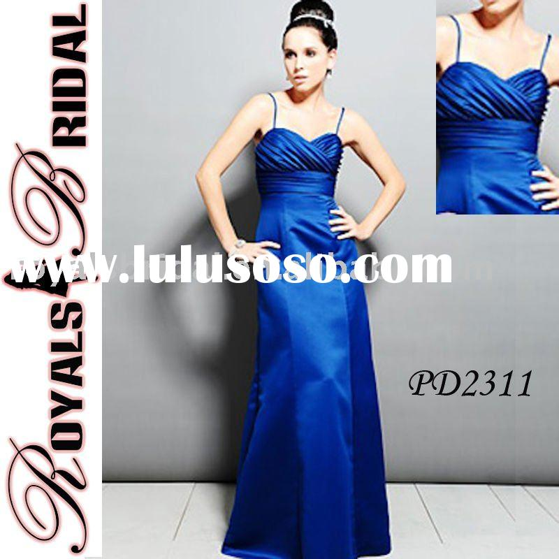 Blue Spaghetti Straps Elegant Taffeta Bridesmaid Dress PD2311