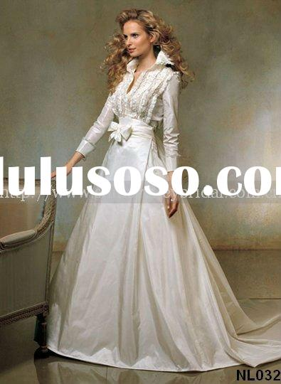 Brand New Hot Selling NL032 Long Sleeve High Neck Taffeta Wedding Dress