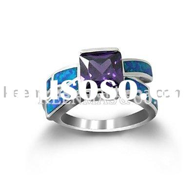Bulk jewelry,925 sterling silver ring with opal&CZ stones in gold or rhodium plating,different o