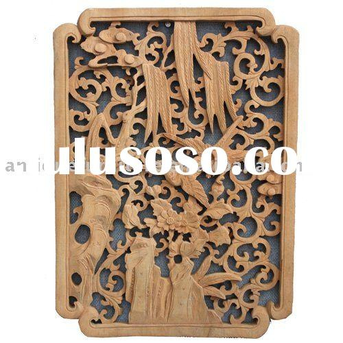Camphor wood furniture,Wall plaque carved with Flowers birds