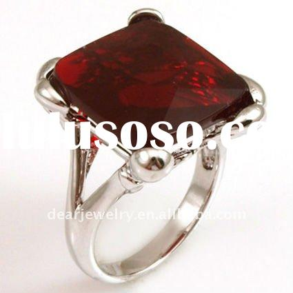 Charm 925 sterling silver ring with red coral&cz stones,rhodium plated,highly polished PA225882