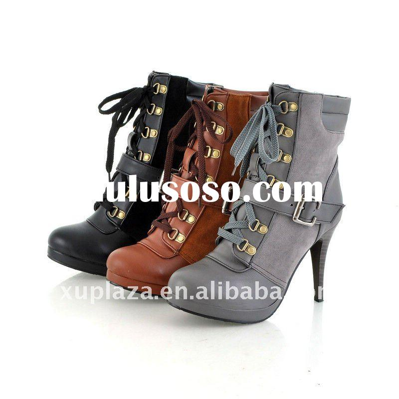 Classic Lace Up Buckles Women 11CM High Heel Pumps Leather Ankle Boots Black Gray Brown US4.5-8.5