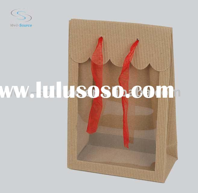 Corrugated paper gift boxes with clear window and ribbon