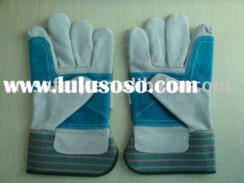 Cow split leather double palm safety glove