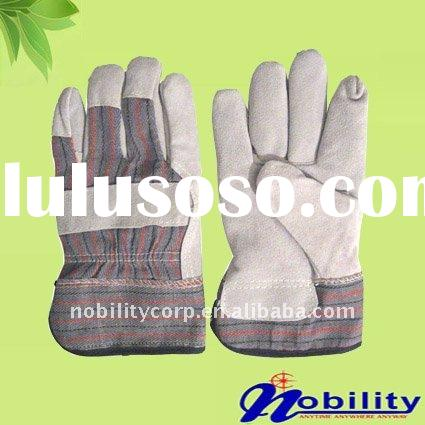 Cow split leather full palm working safety gloves