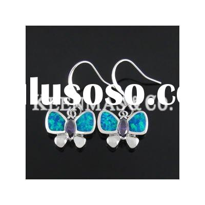 Cute 925 sterling silver opal earrings,butterfly kids/women's earrings,top manufacturer!