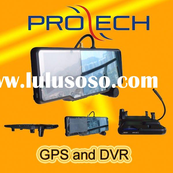 DVR rearview mirror gps with radar detector and wireless camera
