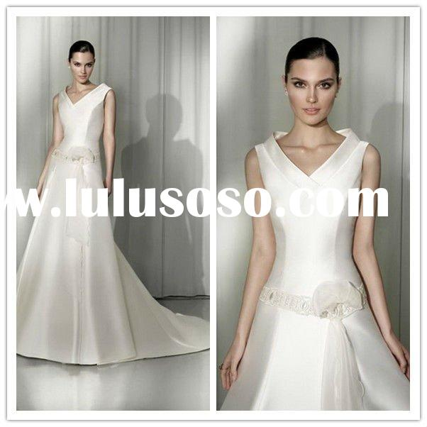 Designer 2011 New Strapless Bridal Gowns A-line V-neck Chapel Train Taffeta sash Beaded Arabic Style