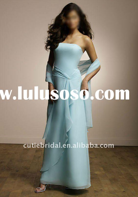 Elegant Navy Blue Chiffon Bridesmaide Dress 3345