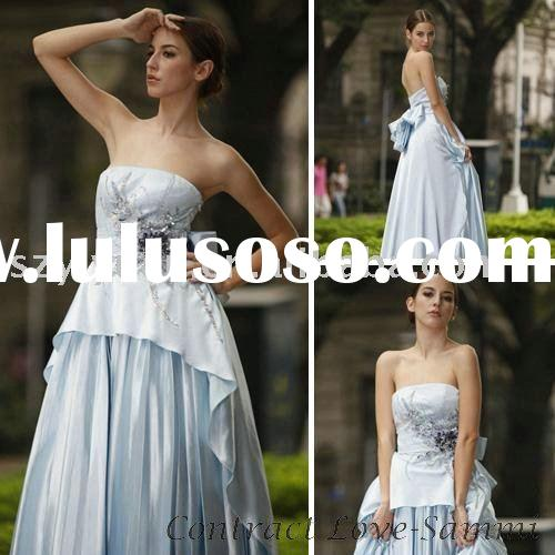 Elegant light blue satin beaded strapless evening party dress gown