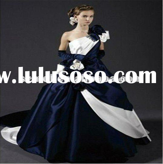 Elegent Flower Embroidered White and Royal Blue Satin Wedding Dress 2012