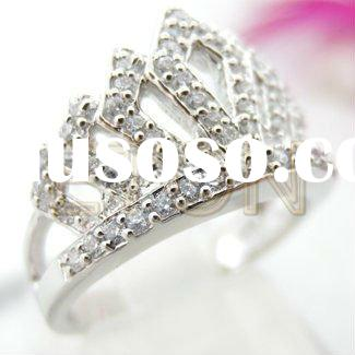 Factory artisan crafted wholesale fashion silver hand setting Pure CZ rhodium plating 925 silver jew