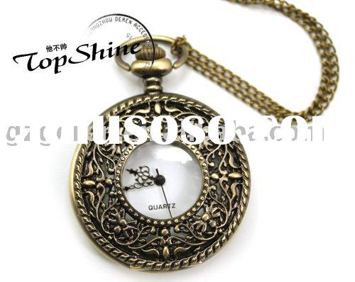 Fashion Retro/Vintage Necklace Round Shape Pocket Watch Necklace With Pattern Flower_D00350o