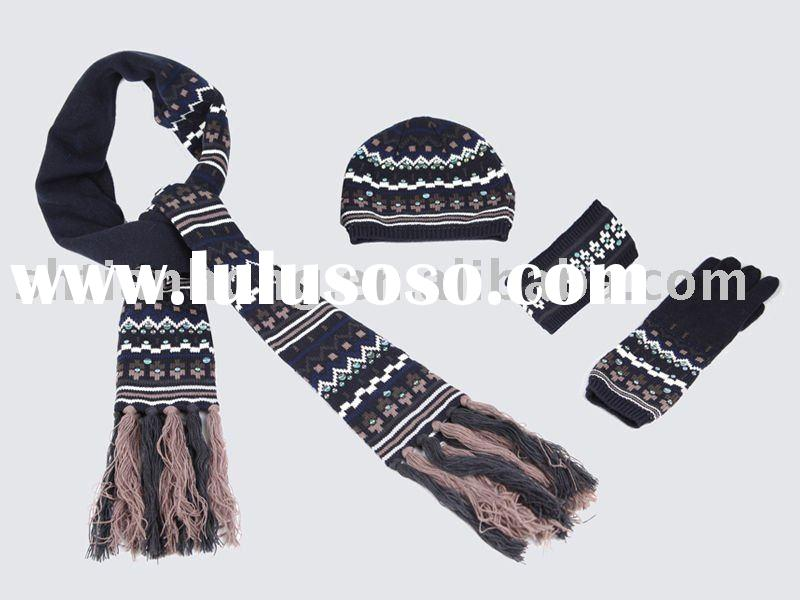 Fashion Winter Knitting Accessories Set - Knitted Beanie Scarf and Gloves