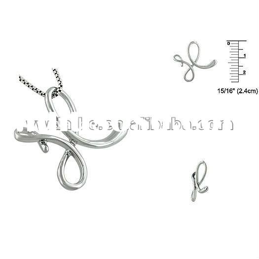 Fashion hot sale alloy silver plated letter/inital X pendant necklace DH118639