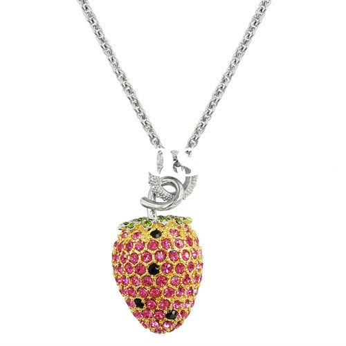 Fashion jewelry necklace,Fruit pendant with Cz stone Necklace(SIP0123T-V01 )