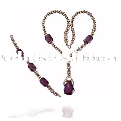Fashion jewelry set: 925 sterling silver jewelry set with cz stones( real), gold plated