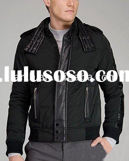 Fashion winter men jacket with PU leather