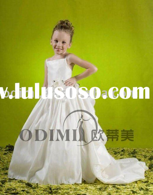 Fashionable Spaghetti Strap Taffeta Flower Girl Dress