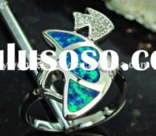 Fish Blue Fire Opal 925 Sterling Silver Ring