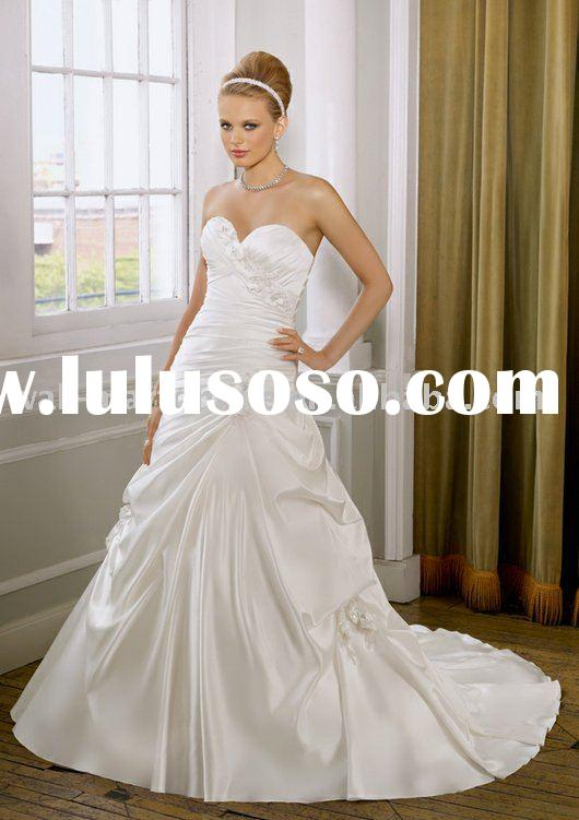 Free shipping ML383 A-line sweetheart strapless floor-length satin flowers wedding dresses patterns