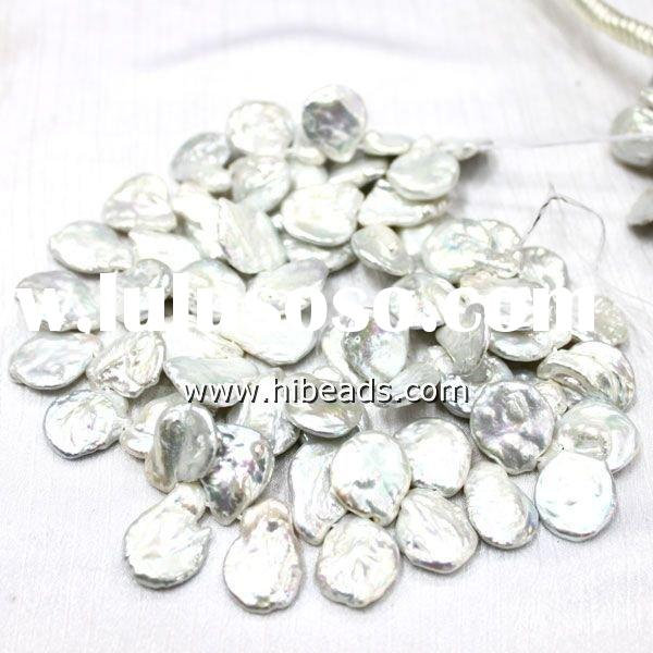 Freshwater keishi pearl strand top-drilled coin beads LPS0431