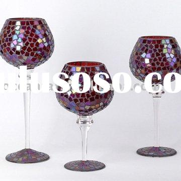 Glass Mosaic goblet candle holder