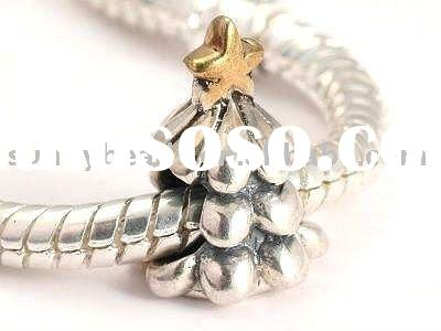 Gold Plated 925 Sterling Silver Christmas Tree Beads