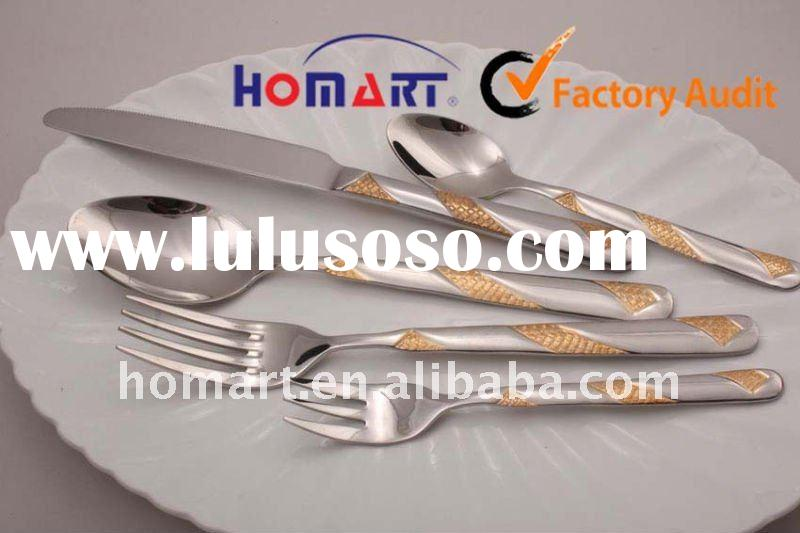 Gold Plated stainless steel wedding cutlery set,dinnerware set