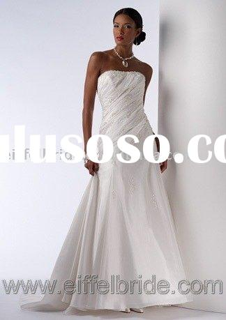 Good Silk Wedding Dress, Bridal Gown (Satin or Taffeta Crepe)H-435