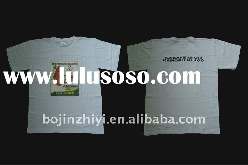 HOT!!! 100% cotton,180Gsm t shirt with heat transfer printing/custom t shirt/promotion t shirt